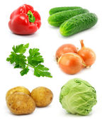 Collection of vegetable fruits isolated on white — Stock Photo