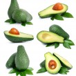 Set of green avocado fruits with leaf isolated on white — Stock Photo #6620580