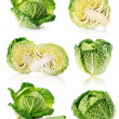 Set fresh green cabbage fruits isolated on white - 