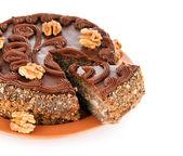 Chocolate cake with nut — Stock Photo
