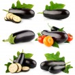 Stock Photo: Set eggplant vegetable fruits isolated on white