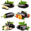 Set eggplant vegetable fruits isolated on white — Stock Photo
