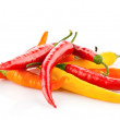 Red chilli peppers isolated on white - Foto Stock