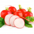 Fresh red radish vegetables with green leaves — Stock Photo