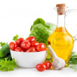 Set fresh vegetables with olive oil — Stock Photo #6633020
