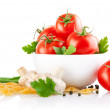 Vegetarian food with tomato and champignons — Stock Photo