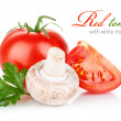Stock Photo: Fresh tomato with mushroom and leaf parsley