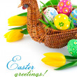 Easter eggs in basket with yellow tulip flowers — Stock Photo