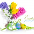 Easter eggs with spring flowers — Stock Photo #6635707