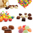 Collection of sweet chocolate candies isolated — Stock fotografie