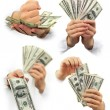 Money dollars in the hands isolated — Stock Photo