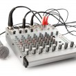 DJ control panel for sound regulation - Stock Photo