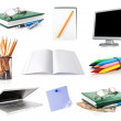 Stock Photo: Set office belongings isolated on white