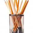Wooden pencils in glass isolated on white — Stock Photo #6639924