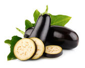 Eggplant vegetable fruits with cut isolated — Foto Stock