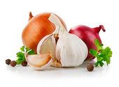 Ajo y la cebolla verduras con especias de perejil — Foto de Stock