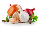 Knoblauch und zwiebel gemüse mit petersilie würzen — Stockfoto