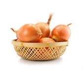 Onion vegetable fruits in vaze isolated — Stock Photo
