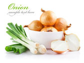 Onions vegetables in white plate with cut — Stockfoto
