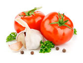 Tomato and garlic vegetables with parsley spice — Stock Photo