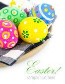Huevos coloreados en placa — Foto de Stock