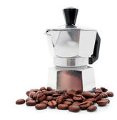 New silver coffee-pot with coffee corns — Stock Photo