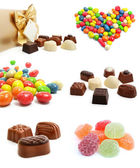 Collection of sweet chocolate candies isolated — Stock Photo