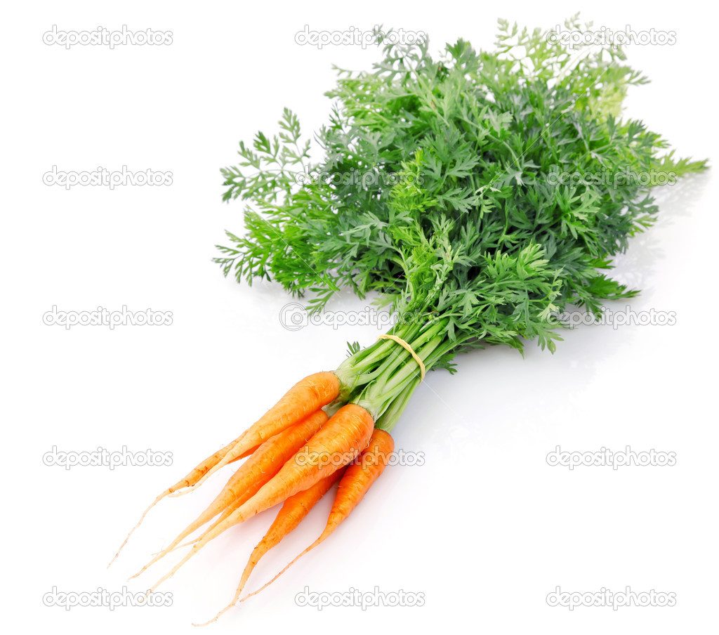 Fresh carrot fruits with green leaves isolated on white background — Stock Photo #6631231