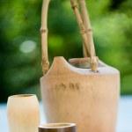 Wooden tea pot — Stock Photo