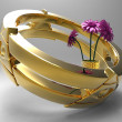 Stock Photo: Golden ring with flowers