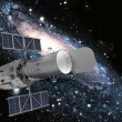Illustration of a satellite in space with a starry background - Stock Photo