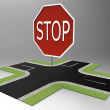 Roads and stop — Stockfoto