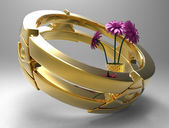 Golden ring with flowers — Stock Photo