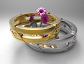 Rings and flowers — Stock Photo