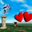 Two hearts and Cupid with wings. — Stock Photo