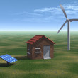 House with solar panel and wind turbine - Stock Photo