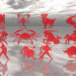 Red signs of the zodiac — Stockfoto