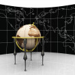 Stock Photo: Ancient globe on map background