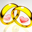 Wedding rings and hearts — Stock Photo #6594450