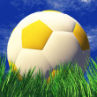 3D soccer ball in green grass — Stock Photo