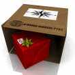 Cardboard box with a gift — Stock Photo