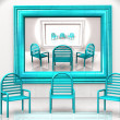 Blue chairs with reflection — Stock Photo #6597439