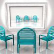 Blue chairs with reflection - Stock Photo