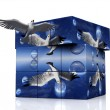 Seagulls flying from a 3D box — Stock Photo