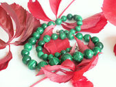 Green strung beads and red leafs — Stock Photo