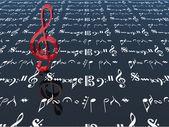 3d red treble clef — Stock Photo