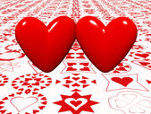 Pair of bright red hearts — Stock Photo