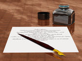 Subjects for writing metal pen and ink — Stock Photo