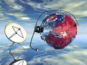 Earth globe and radio aerial antenna — Stock Photo