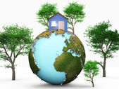 House on green planet — Stock Photo